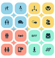 set of simple mates icons vector image vector image