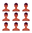 Set of young african man face expression avatars vector image vector image