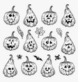 set various hand drawn halloween pumpkins vector image