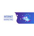 social media marketing isometric 3d banner header vector image vector image