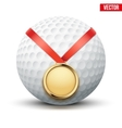 Sport gold medal with ribbon for winning golf vector image vector image