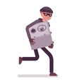 Thief in a black mask stole safe and is running vector image vector image