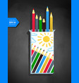 top view of color pencil box vector image vector image
