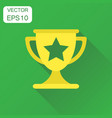 trophy award cup icon business concept winner vector image vector image