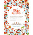 vertical christmas snowmen background vector image