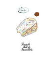 watercolor piece of french cheese muenster vector image vector image