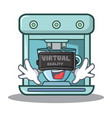 with virtual reality coffee maker character vector image vector image