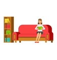 Woman Sitting On The Sofa Reading A Book Next To vector image vector image