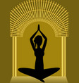 yoga training woman silhouette in golden gate vector image vector image