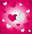 love background with white and red hearts on red vector image