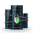 network servers with a lock with chain security vector image