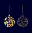 set of hand drawn golden christmas ball toy vector image