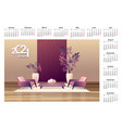 2021 calendar apartment interior english vector image vector image
