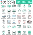 3D printing technology flat line outline vector image vector image