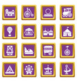 Amusement park icons set purple square