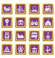 amusement park icons set purple square vector image vector image