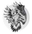 bird owl wing black fly vector image vector image