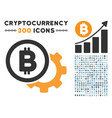 bitcoin options cog flat icon with collection vector image