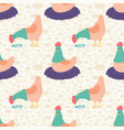 bright cream hens seamless pattern vector image vector image