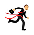 businessman character crossing finish line vector image