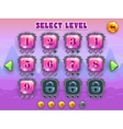 Cartoon level selection game screen vector image vector image