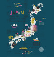 cartoon map japan print design vector image