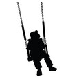 child swinging black silhouette vector image vector image