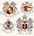 collection heraldic shields in vintage style vector image vector image