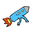 comic cartoon happy rocket vector image vector image