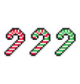 cute pixel 8 bit red and green christmas candy vector image