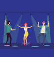 dancing people in disco club under spotlights vector image vector image
