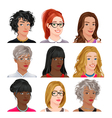 Different female avatars vector image vector image