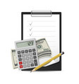 dollars note pen and calculator on a white vector image vector image