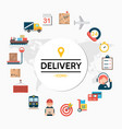 flat delivery round concept vector image vector image