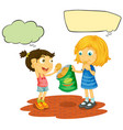 girls with speech balloon vector image vector image