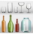 Glass bottles ans realistic transparent 3d set vector image vector image