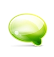 Green glossy speech bubble icon vector image