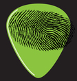 guitar pick fingerprint green vector image vector image