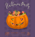 halloween party banner with scary pumpkin vector image