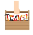 hand box with tools vector image