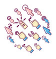 hand click icons set cartoon style vector image vector image