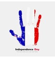 Handprint with the Flag of France in grunge style vector image vector image