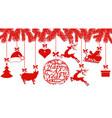 happy new year santa claus hat deer heart gift vector image vector image