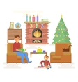 House Christmas room interior vector image vector image