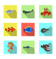 isolated object of sea and animal icon set of sea vector image vector image