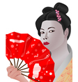 japanese girl holding fan vector image