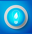 light bulb with leaf icon on blue background vector image vector image