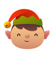 little cute cartoon elf head on white background vector image vector image