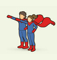 little super hero boy and girl standing together vector image vector image