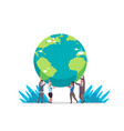 mix race businesspeople holding earth globe go vector image vector image